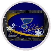 St Louis Blues Christmas Round Beach Towel