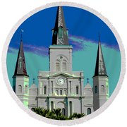 St Louis Cathedral 3 Round Beach Towel