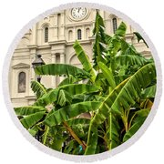 St. Louis Cathedral And Banana Trees New Orleans Round Beach Towel