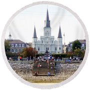 St Louis Cathedral Round Beach Towel