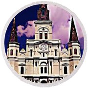 St Louis Cathedral In New Orleans Round Beach Towel