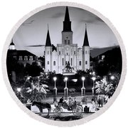 St. Louis Cathedral New Orleans Round Beach Towel