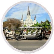 St Louis Cathedral New Orleans Round Beach Towel