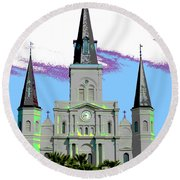 St Louis Cathedral Poster 2 Round Beach Towel