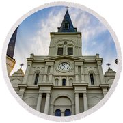 St Louis Cathedral Twilight Round Beach Towel