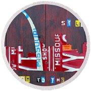 St. Louis Skyline License Plate Art Round Beach Towel