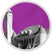 St Louis Skyline Union Station - Plum Round Beach Towel