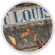St Louis Street Tiles In New Orleans Round Beach Towel