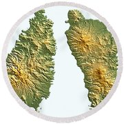 St Lucia And Dominica Map Round Beach Towel