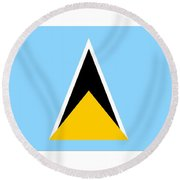 St. Lucia Flag Round Beach Towel
