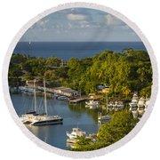 St Lucia Harbor Round Beach Towel