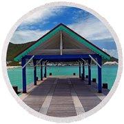 St. Maarten Pier Round Beach Towel