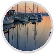 St. Malo Sunrise Brittany France Round Beach Towel