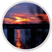 St. Marten River Sunset Round Beach Towel