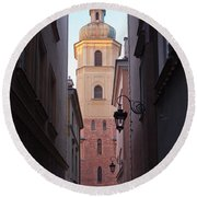 St. Martin's Church Bell Tower In Warsaw Round Beach Towel