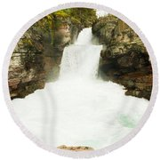 St Mary Falls Glacier National Park Round Beach Towel