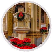 St. Mary Of The Angels Christmas Lectern Round Beach Towel