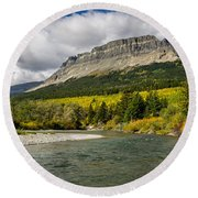 St. Mary River And East Flattop Mountain Round Beach Towel