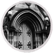 St Marys Cathedral Doors Round Beach Towel