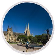 St. Mary's Cathedral Round Beach Towel