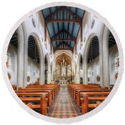 St Mary's Catholic Church - The Nave Round Beach Towel