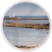 St Marys Lighthouse Across Sandy Bay Round Beach Towel
