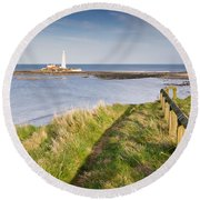 St Marys Lighthouse From Cliff Top Round Beach Towel