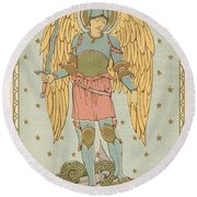 St Michael And All Angels By English School Round Beach Towel