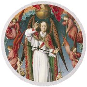 St. Michael Weighing The Souls, From The Last Judgement, C.1445-50 Oil On Panel Detail Of 170072 Round Beach Towel