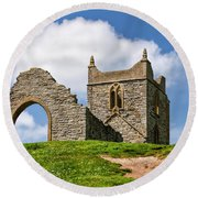 St Michael's Church - Burrow Mump 4 Round Beach Towel