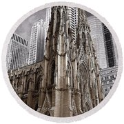 St. Patricks Cathedral  Round Beach Towel