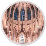 St Patricks Cathedral New York Usa Round Beach Towel