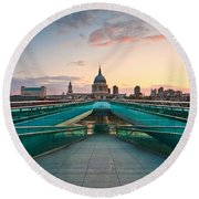 St. Paul's Cathedral And Millennium Bridge In London Round Beach Towel