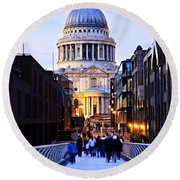 St. Paul's Cathedral London At Dusk Round Beach Towel