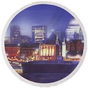 St Paul's Landscape River Round Beach Towel by MGL Meiklejohn Graphics Licensing