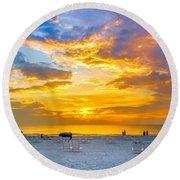 St. Pete Beach Sunset Round Beach Towel