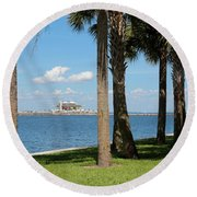 St Pete Pier Through Palm Trees Round Beach Towel