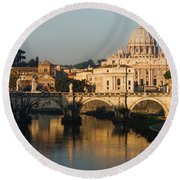 St Peter Morning Glow - Impressions Of Rome Round Beach Towel
