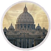 St Peter's Afternoon Glow Round Beach Towel by Joan Carroll
