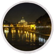 St Peters At Night Round Beach Towel