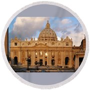 St. Peters Basilica Round Beach Towel by Adam Romanowicz