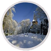 St Peter's Church In The Snow Round Beach Towel