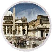 St Peters Square - Vatican Round Beach Towel by Jon Berghoff