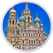 St Petersburg Church Round Beach Towel