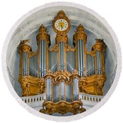St Roch Organ In Paris Round Beach Towel