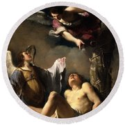 St. Sebastian Succoured By Two Angels Round Beach Towel