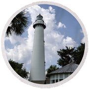 St. Simon's Island Georgia Lighthouse Round Beach Towel