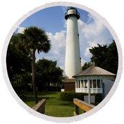 St. Simon's Island Georgia Lighthouse Painted Round Beach Towel