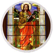 St. Stan's Stained Glass Round Beach Towel