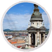 St Stephen's Basilica Bell Tower In Budapest Round Beach Towel